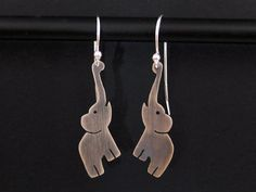 Silver Elephant Earrings - 925 African Elephant Jewelry - Oxidized Dangle Earrings
