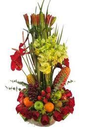 Image result for arreglo de flores y frutas amarillas
