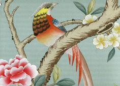 Chinoiserie Handpainted Silk Wallpaper: Grand View Garden