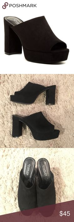 Charles by Charles David Miley Myles Black suede mules with platform. Super comfy. Only worn a couple times. No trades. Charles David Shoes Mules & Clogs