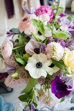 valentine's floral arrangement - anemones, ranunculus