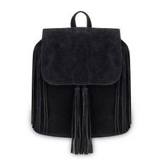 Black Fringe Backpack with Foldover Flap - US$25.95 -YOINS