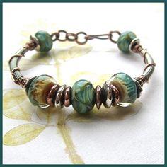 metal and lampork bracelet - SOLD lampwork bead braceletlampwork bead bracelet Glass Jewelry, Wire Jewelry, Boho Jewelry, Beaded Jewelry, Jewelry Bracelets, Jewelery, Jewelry Design, Jewelry Ideas, Jewelry Patterns