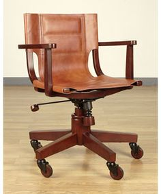 saddle leather dark wood office chair