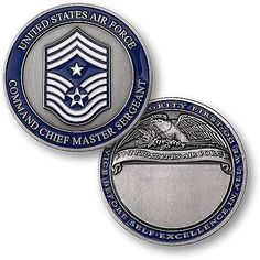 U.S. Air Force Command Chief Master Sergeant Engravable Rank Coin