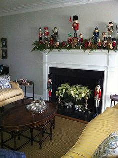 Nutcrackers..which I had from every country Ive been.... Christmas Fireplace, Christmas Mantels, Gold Christmas, Christmas Time, Christmas Projects, Merry Christmas, Nutcracker Decor, Nutcracker Christmas, Office Christmas Decorations