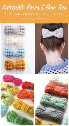 crochet bow pattern Use these crochet bow and bow tie patterns to create adorable bows for all occasions. Cute and easy to make, these dress up any crochet project! Crochet Bow Ties, Crochet Hair Bows, Crochet Hair Accessories, Crochet Headband Pattern, Crochet Patterns, Crochet Daisy, Crochet Gifts, Free Crochet, Bowtie Pattern