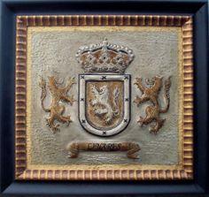 Escudo heráldico del apellido, Linares..... Medidas: 41X38.