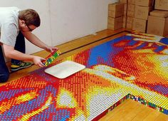 Pete Fecteau used over 4,000 Rubik's Cubes to create this 18′ 6″ x 9′ 8″ mosaic of Dr. Martin Luther King