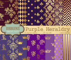 Heraldic Digital Paper Gold Purple by Origins Digital Curio on @creativemarket