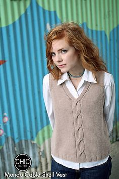 Ravelry: Mondo Cable Shell / Vest pattern by Bonne Marie BurnsChic Knits is your source for modern hand knitting patterns. You'll enjoy knitting AND wearing our collection of sassy classics that reflect the way you work and live designed by Bonne Mar Love Knitting, Arm Knitting, Knit Vest Pattern, Knitting Patterns, Ropa Upcycling, Dress Gloves, Yarn Brands, Knitting For Beginners, Mantel