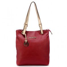 Michael Kors Jet Set Pebbled Leather Medium Red Totes