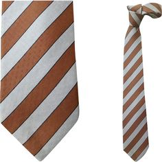 Gorgeous vintage Givenchy silk necktie with a gray and brown regimental stripe; made in Italy, diamond jacquard. Measurements: 56 inches long x 3-1/4