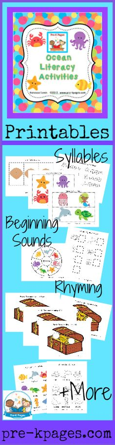 Printable ocean literacy activities for preschool and kindergarten. Rhyming, beginning sounds, syllables and more.