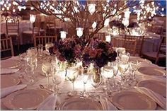 Gorgeous photos of wedding table decorations and wedding centerpiece ideas. Get inspired with these wedding table centerpieces and decorate a stunning wedding reception! Branch Centerpieces, Romantic Wedding Centerpieces, Fall Wedding Decorations, Reception Decorations, Wedding Flowers, Table Decorations, Centerpiece Ideas, Wedding Ideas, Reception Table
