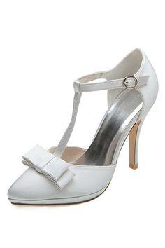 Sandale salomé blanc / argenté à talon haut  pour mariage en satin avec noeud papillon Peeps, Peep Toe, Satin, Sandals, Shoes, Style, Fashion, Hair Bow, Pumps