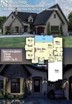 Plan 62914dj 3 Bed Modern Cottage House Plan With Large Rear Covered Patio Cottage House Plans Modern Cottage Cottage Homes