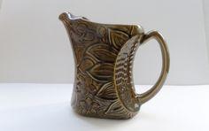 Vintage Sarreguemines Majolica Leaf Ceramic Water Jug / Pitcher by pentyofamelie on Gourmly