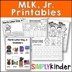 Martin Luther King Jr. Day in kindergarten can be tricky!  Kids are so innocent and so literal, it can be tricky but #SimplyKinder can help!  This set of printables will help you explain the concepts (and give you some literacy and math printables to go along!)  **Download the preview for your free preview!**  ••••••••••••••••••••••••••••••••••••••••••••••••••••••••••••••�...
