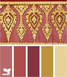 Color Gilt: Mauve Pink, Rose Pink, Rich Wine Red, Gold and Faded Yellow