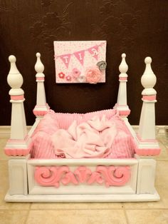 Princess Puppy Bed - made from old end table