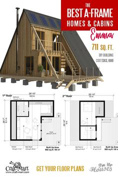 Plans for A-Frame Small House Emma. Take a look at other inexpensive and easy-to-build A-frame house plans. Read about cons and pros of A-frame cabins and small homes. Wooden House Plans, Small House Floor Plans, Cabin Floor Plans, A Frame Cabin Plans, Build A Frame, Tyni House, Flat Roof House, Triangle House, Casas The Sims 4