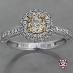 Art Deco Engagement Ring - GIA Fancy Yellow Diamond