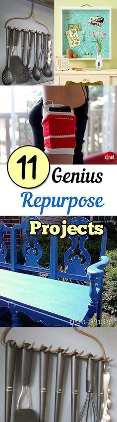 11 Genius Repurposed Projects. Amazing ideas for upcycling and recycling projects and ideas.