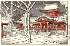 Snow at Hachiman Shrine, Kyoto by Takeji Asano, 1953 (published by Unsodo)
