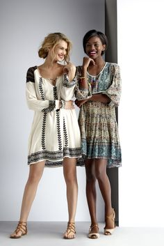 Adorably boho/indie chic, and so perfect for early spring to summer! You an wear these dresses with boots and a denim or leather jacket when it's chilly, or with strappy sandles in the summer. And I always love dangly, artisian-style accessories with this kind of look. Love, love, love!