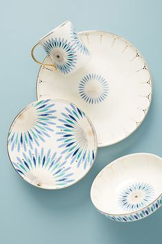 Whitney Dinner Plates, Set of 4 By Anthropologie in Blue Size S/4 dinner