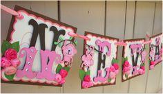 Handmade Banner - Custom made - GO GREEN - Name Banner Happy Birthday Baby Shower Bridal Shower Garden Flower Pink Monkey Theme