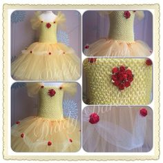 Belle Tutu Dress. Beauty And The Beast Inspired Handmade Tutu Dress With Roses And Satin Ribbon.All Sizes Fully Customised