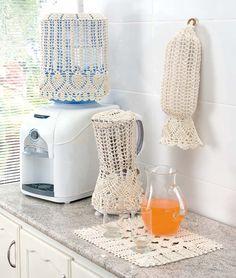 Cod. 423 - 533 - 1038 - 1409 - Acessórios de Cozinha Encanto - Cor 5 Crochet Home Decor, Crochet Crafts, Crochet Projects, Love Crochet, Crochet Lace, Crochet Borders, Crochet Patterns, Crochet Ideas, E 500