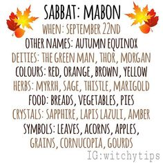 Mabon correspondences 🍂🦊 This year Mabon is on September 22nd! Wiccan Sabbats, Wicca Witchcraft, Magick, Paganism, Wiccan Rituals, Mabon, Autumnal Equinox, Eclectic Witch, Baby Witch