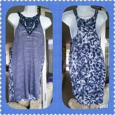 Razor Tank Crochet yoke,burn out front in slate blue, blue floral on back. One side has small stitch missing,in yoke area...see pic 2, can be easily sewn. 50/50 polyester/cotton ??Ask for price drop for reduced shipping?? gimmicks by BKE Tops Tank Tops