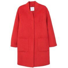 Belt Handmade Coat (662675 PYG) ❤ liked on Polyvore featuring outerwear, coats, mango coats, red coat and metallic coat