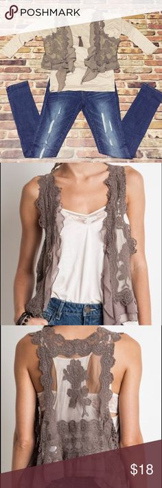 Mocha Me Happy Vest This simple crochet vest is the perfect way to dress up any summer or fall outfit! The neutral mocha color and sheer fabric go great with almost any color! Sizes are S/M and M/L. Jackets & Coats Vests