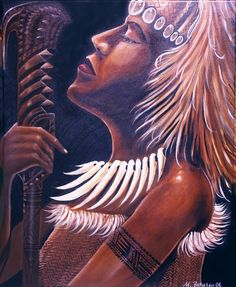 Nafanua: Samoa's warrior goddess from Falealupo, Savai'i.  LOVE this artwork by Michael Fatutoa!