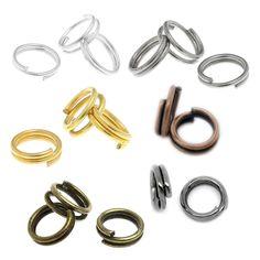 100 Spaltringe 5mm silber gold bronze kupfer Binderinge Doppel Ringe   Bacabella Perlen und Schmuckzubehör
