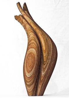 Sculptural wooden vases made by laminating laser cut veneers. Old style meets new technology, fascinating. Designed by Jon Kleinhample Abstract Sculpture, Wood Sculpture, Paper Vase, Wooden Vase, Laser Cut Wood, Art Object, Vases Decor, Organic Beauty, Custom Art