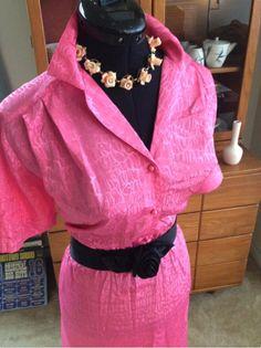 VTG 60S PiNUP ROCKABILLY FAB PINK SILKY SHIRTWAIST WIGGLE DRESS L XL
