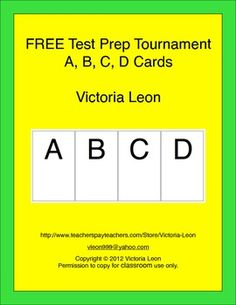 FREE Test Prep Tournament - A, B, C, D Cards - Get your students ready for their chapter tests, district mandated tests, and state standards tests...