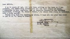 14-year-old Stephen King's letter to an editor. So sweet...