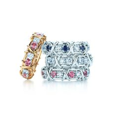 899ebd5ade73 Tiffany  amp  Co. Schlumberger® Sixteen Stone rings with diamonds and pink  and blue
