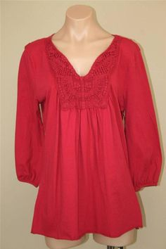 NWT One World Crimson Red Butterfly Crochet Baby Doll Tunic Top size L #OneWorld #Tunic