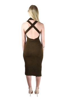 50ec8e4e772 Lavish Alice Khaki Rib Knit Open Back Wrap Tie Midi Dress