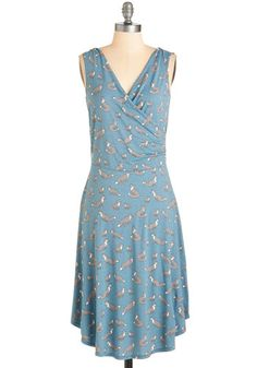Just a Critter Bit Dress in Blue by Blue Platypus - Jersey, Knit, Long, Blue, Print with Animals, Print, Casual, Critters, Woodland Creature, Wrap, Sleeveless, V Neck