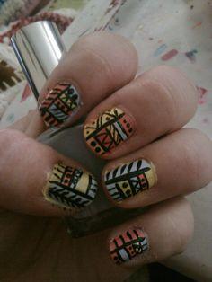 Tribal Nail Art! #Tribal #Nails #Aztec