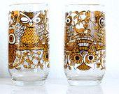 Vintage Owl Tumblers 4 Drinking Glass Set of Four Kitsch Mid Century Modern 60s Retro Glasses Brown Mustard Yellow OrangeGold Fall Autumn
